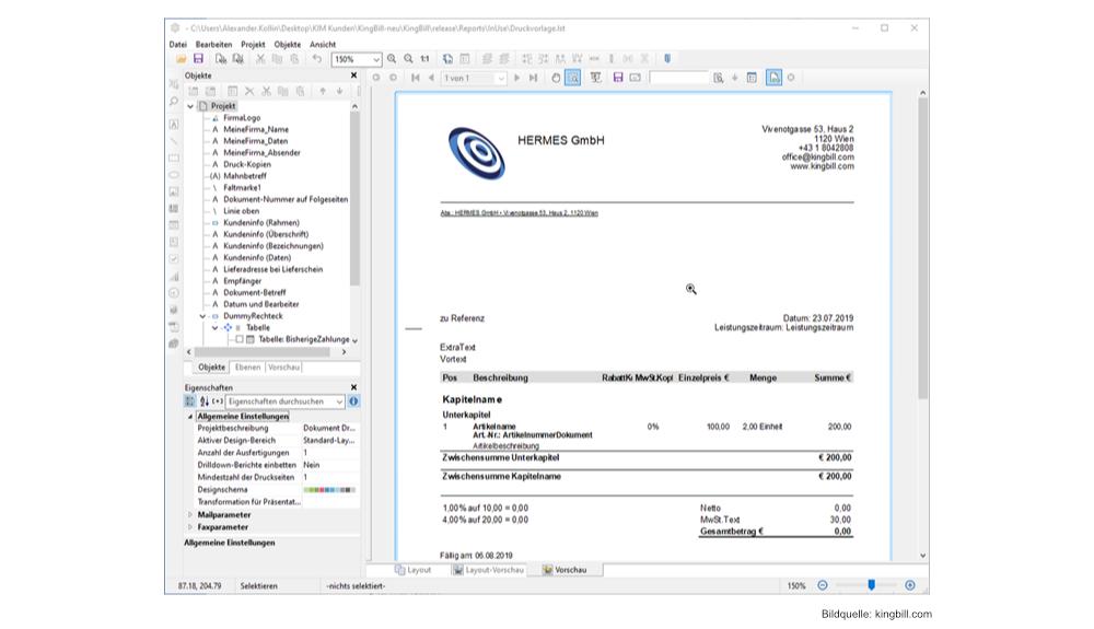 Kingbill Praktische Rechnungssoftware Fur Kleinunternehmer Hardwarejournal De