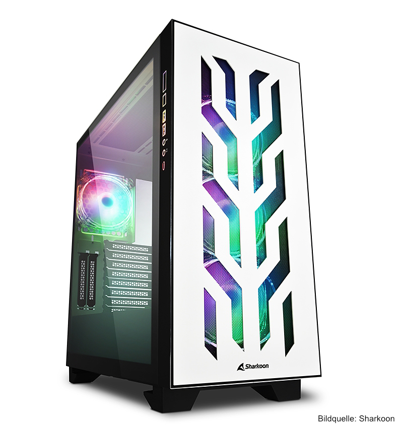 Sharkoon ELITE SHARK CA300T Gaming PC-Gehäuse Weiß