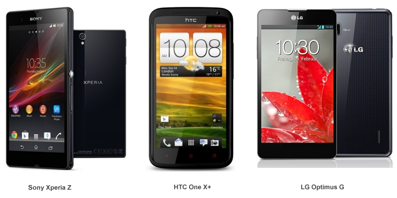 Smartphone Sony-Xperia HTC-OneXPlus LG-Optimus-G
