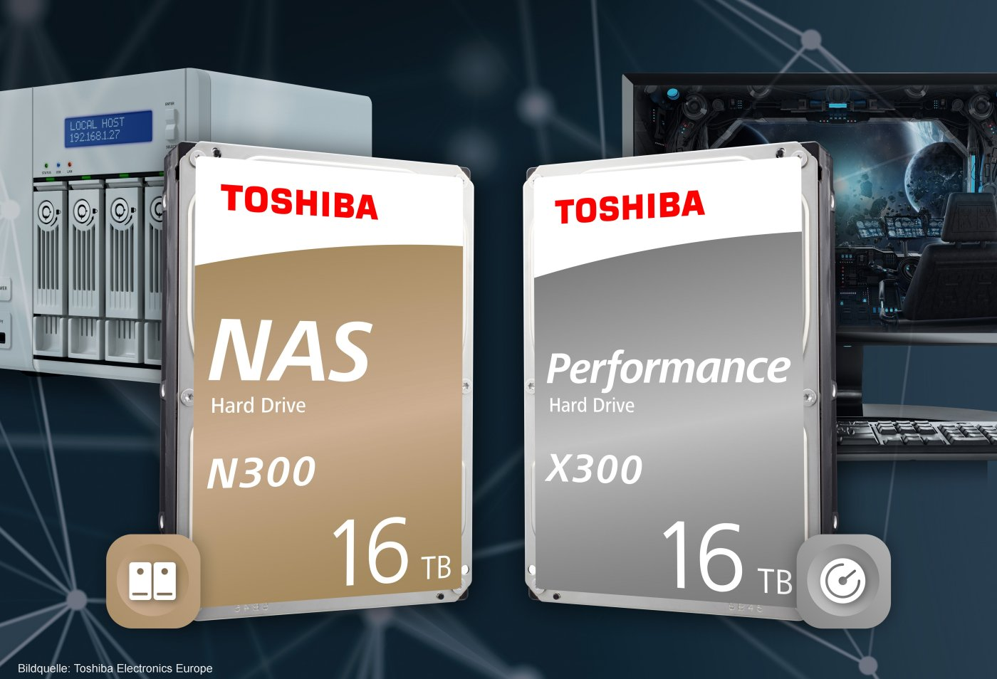 Toshiba N300-NAS- und X300-Performance-HDDs