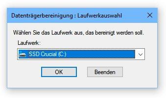 Windows 10 Datenträgerbereinigung Laufwerkauwahl