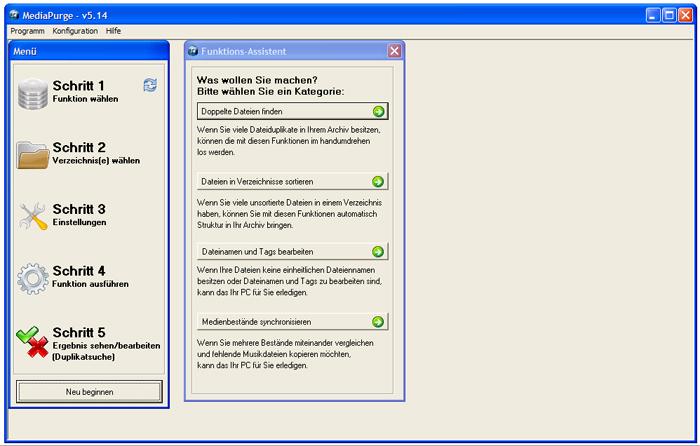 Mit der kostenlosen Software Mediapurge lassen sich doppelte MP3-Dateien finden und löschen.