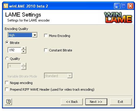 MP3 Bitraten ändern mit Winlame