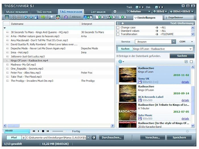 Tagscanner ist ein kostenloser MP3-Tag Editor.