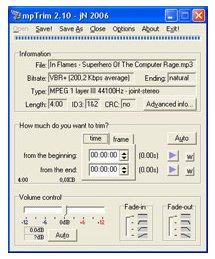 mptrim ist ein MP3 Editor zum direkten Bearbeiten von MP3s