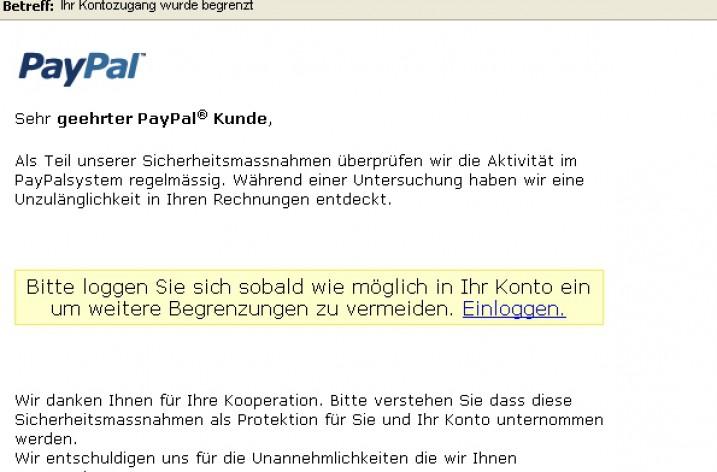 Email Spam: Paypal – Ihr Kontozugang wurde begrenzt