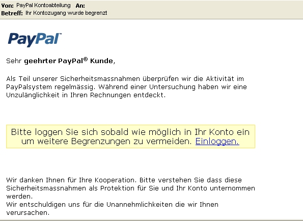 Spam Phishing Email Paypal