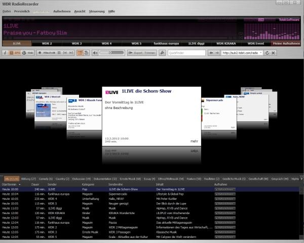 Mit dem WDR Radiorecorder kann man Hörfunk Sendungen legal mitschneiden.
