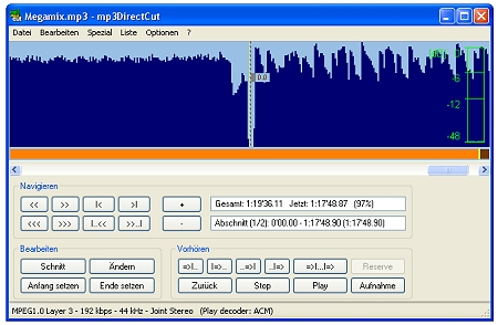 Mp3 schneiden mit der Software mp3directcut